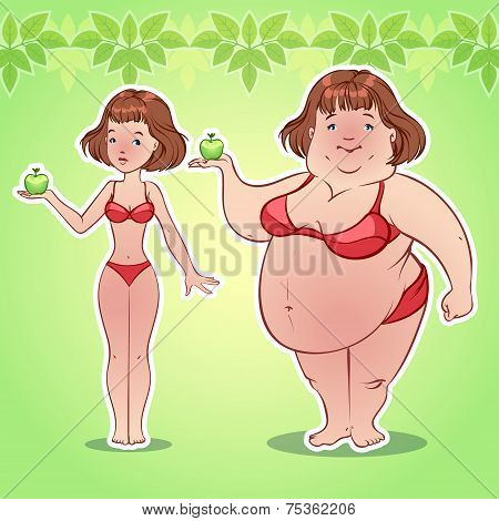 Skinny And Fat Girl With An Apple