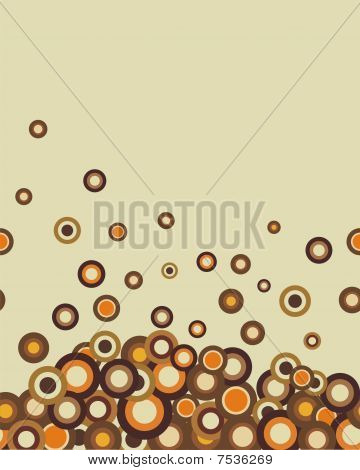 Retro seamless coffee-coloured abstract horizontal texture with circles