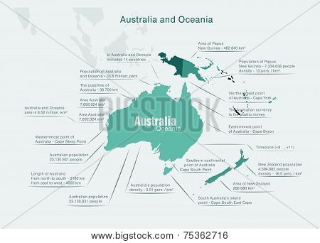 infographics Continent Australia And Oceania Green And Gray