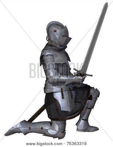 Fifteenth Century Medieval Knight in Kneeling Pose