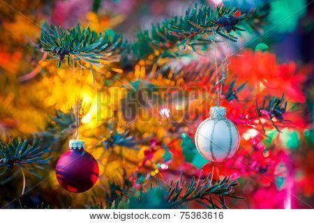 Close-up of decorated x-mas tree