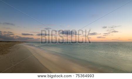 Island beach before sunrise