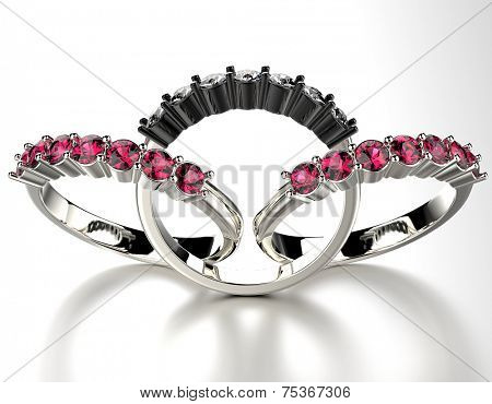 Engagement Rings with ruby gemstone. Jewelry background
