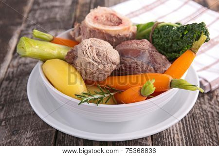 pot-au-feu, beef stew and vegetables