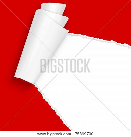 Vector Ripped Open Paper Red