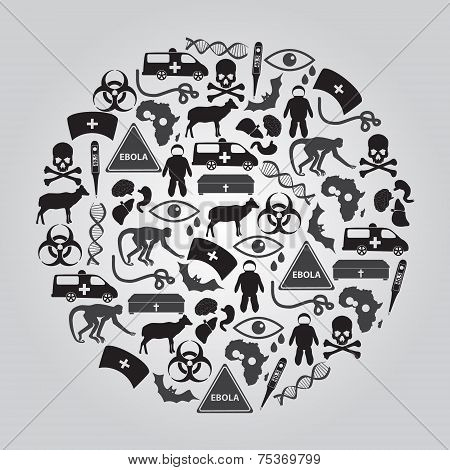 Black Ebola Disease Icons Set In Circle Eps10