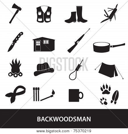 Black Backwoodsman Icon Set Eps10