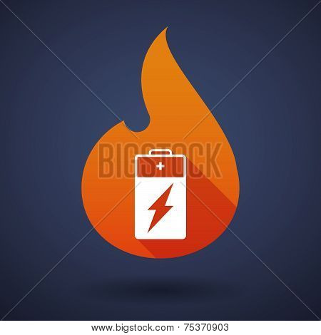 Flame Icon With A Battery