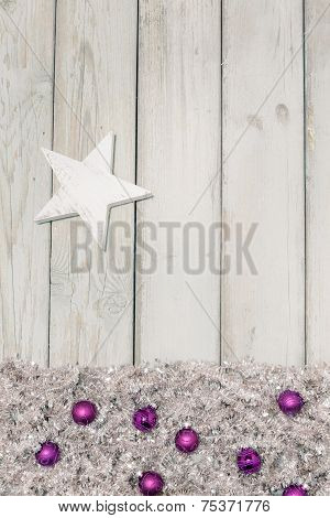 Background Purple Christmas Balls And White Star