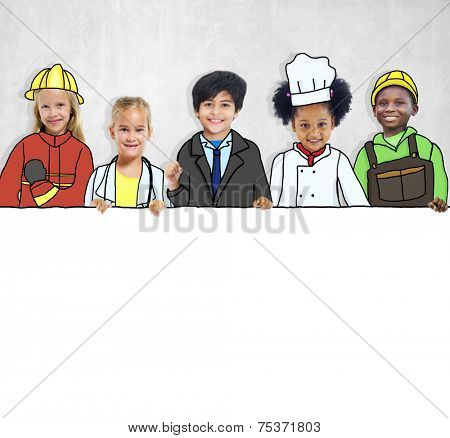 Group of Children with Professional Occupation Concepts