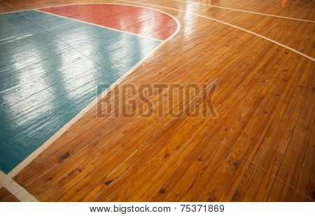 Basketball court closeup with reflection. Sports background