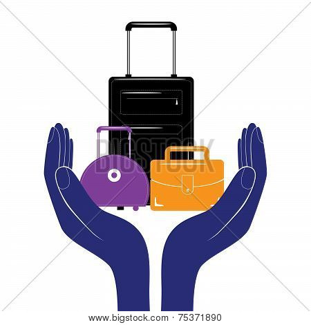 Baggage Insurance Sign Icon. Travel Luggage Symbol. Business Vector.