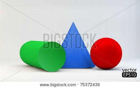Vector Colored geometric primitives/cone/cylinder/sphere