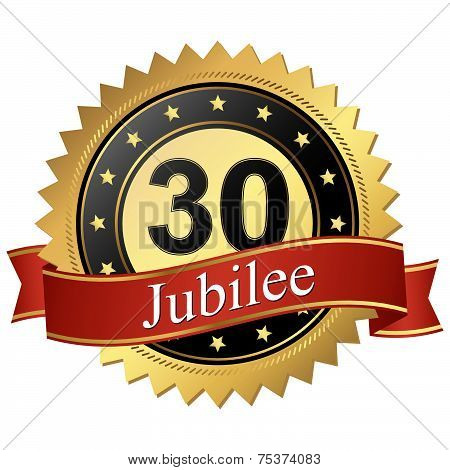 Jubilee Button With Banners - 30 Years