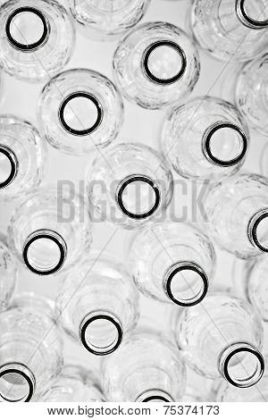 Empty glass bottles . Still-life on a white background