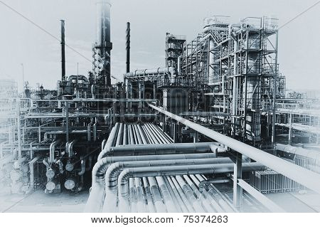 oil and gas refinery in old fashioned processing, fading borders