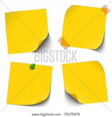 Collection Of Blank Colored Sticky Notes