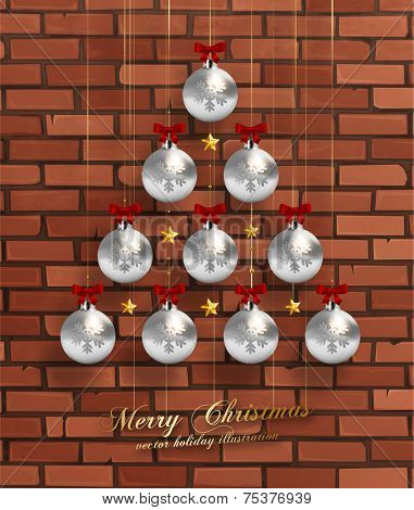 Christmas Balls and Stars. Xmas Decorations. Vector. Brick Wall Background.