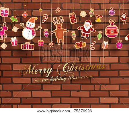 Christmas set of icons and elements, vector. Brick wall background.