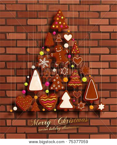 Hanging Gingerbread Christmas Cookies for Xmas Decoration. Brick Wall Texture Background. Vector.