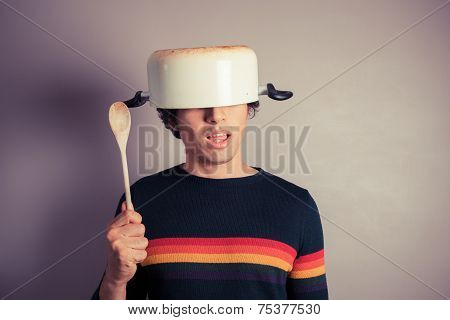 Silly Young Man With Pot On His Head