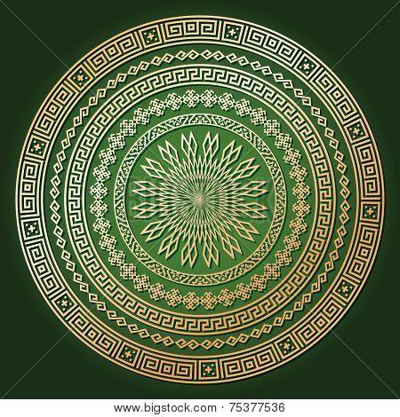 Golden ethnic round texture with shadow on dark green