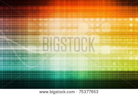 Conceptual Business Chart Background with Technology Art