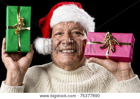 Kind Aged Gentleman With Red Cap Raising Two Gifts