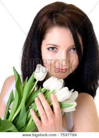 Attractive Woman With White Tulips