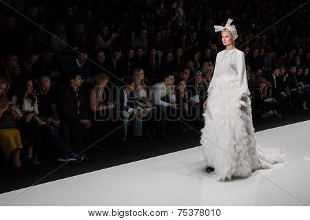 MOSCOW - OCTOBER 25: A model displays a creation by Russian designer Yulia Prokhorova during Mercedes-Benz Fashion Week Russia on October 25, 2014 in Moscow, Russia.