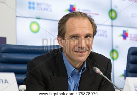 MOSCOW, RUSSIA, October, 28: Actor RALPH FIENNES. Press Conference. October, 28, 2014 at TASS agency in Moscow, Russia