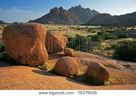 Landscape with massive granite rocks, Spitzkoppe, Namibia