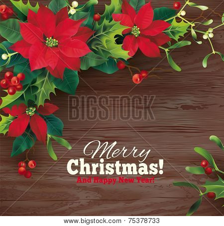 Christmas background with holly garland. Vector eps 10.