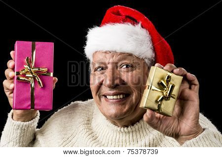 Happy Male Senior Showing Two Wrapped Presents