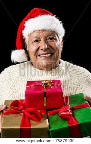 Aged Man Offering Three Wrapped Christmas Presents