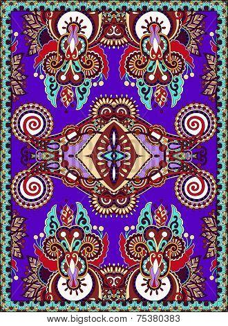 violet colour ukrainian floral carpet design for print
