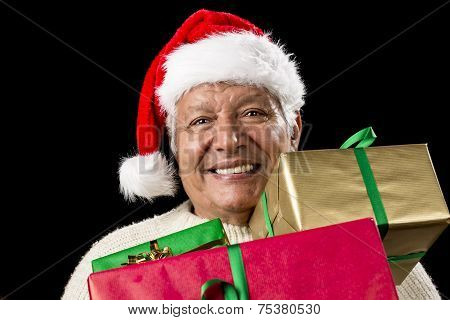 Jolly Old Man With Santa Cap And Three Xmas Gifts