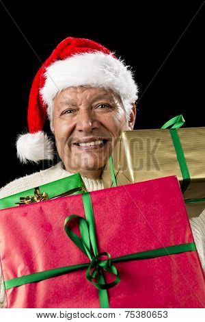 Aged Gentleman Peering Across Three Wrapped Gifts