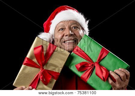 Old Man In Red Gaping Across Two Wrapped Gifts