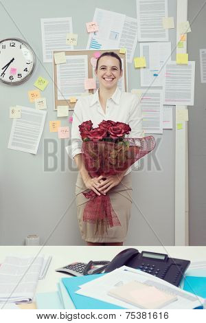 Office Worker With Red Roses