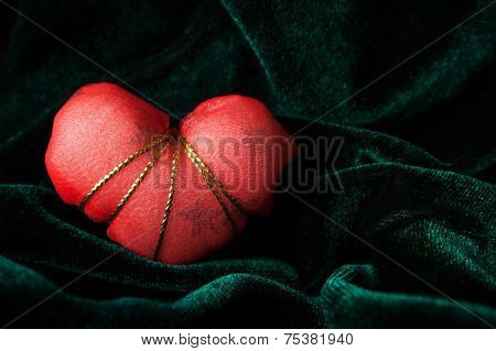 Red Heart On The Velor Background