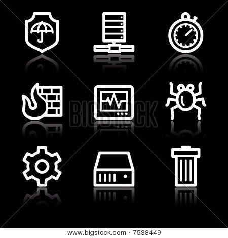 White contour internet security web icons V2