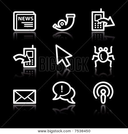 White contour internet web icons V2 set 2