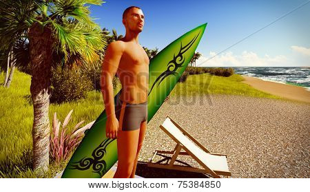 Hawaiian paradise with male surfer