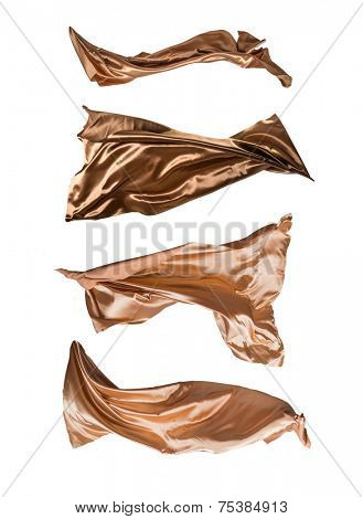 Satins in freeze motion, isolated on white background.