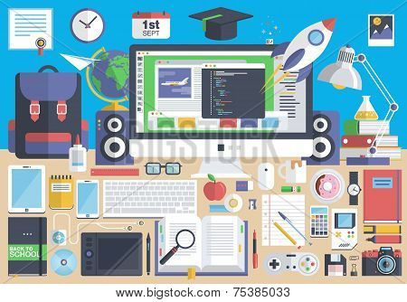 Creative school desktop, workspace
