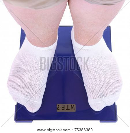 Fat man standing on electronic scales isolated on white. Conceptual photo of weight loss.
