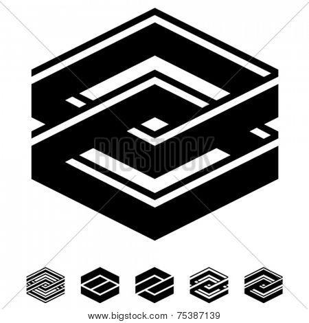 vector unity square black white symbols