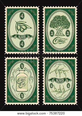 Set Of Vector Postage Stamps With Olives, Olive Tree, Oil