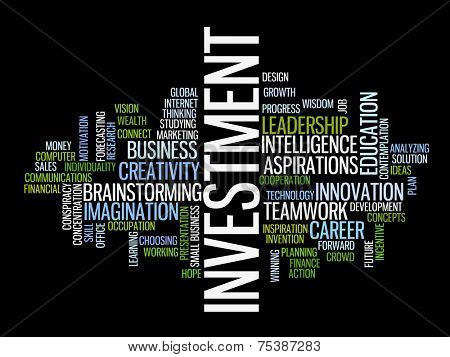 Investment strategy concept word cloud